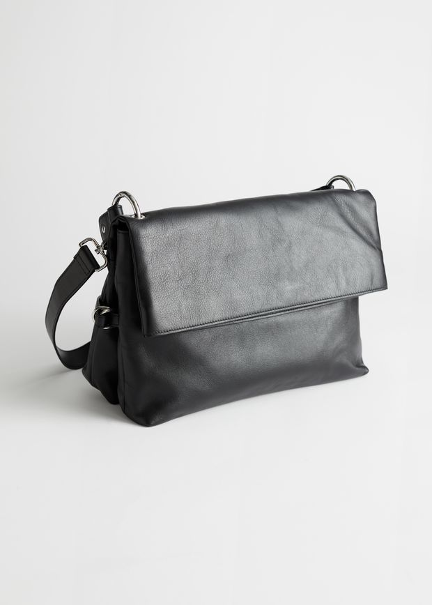 Slouchy Flap Closure Leather Bag