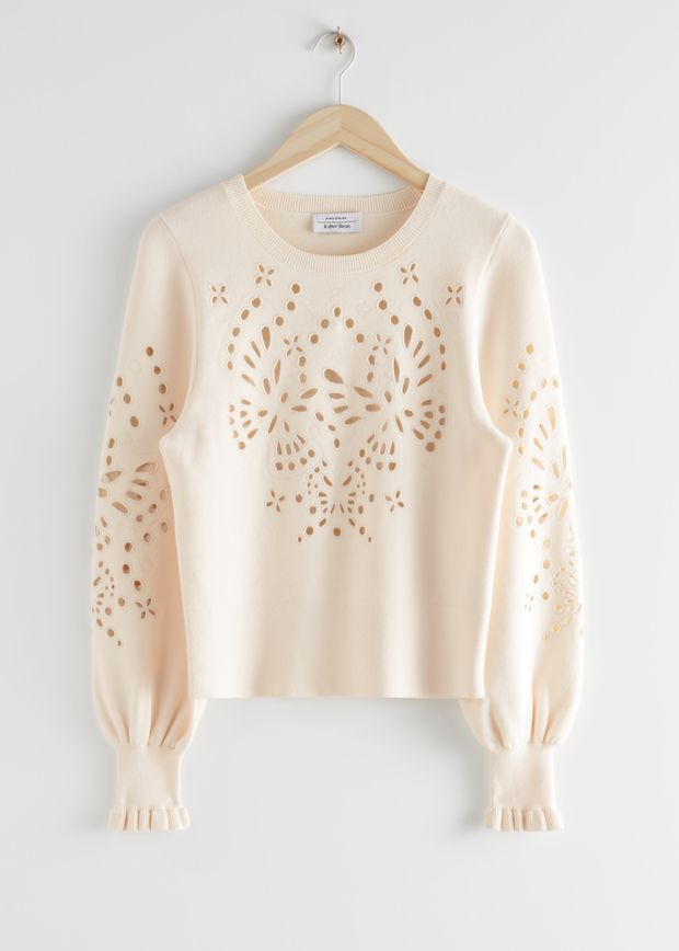 Embroidered Jacquard Knit Sweater