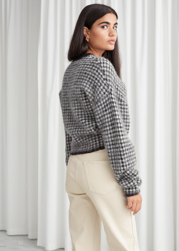 Fuzzy Jacquard Knit Sweater