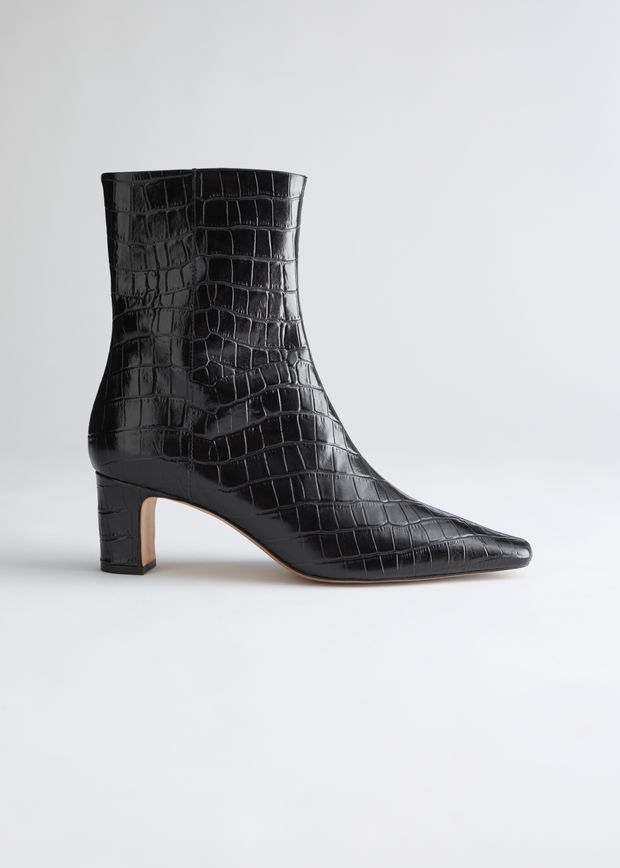 Croc Leather Heeled Ankle Boots