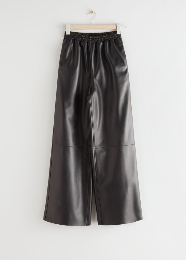 Wide Leather Trousers