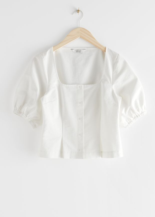Square Neck Puff Sleeve Twill Top