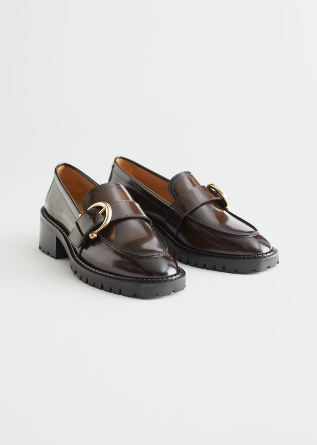 Buckled Leather Heeled Loafers