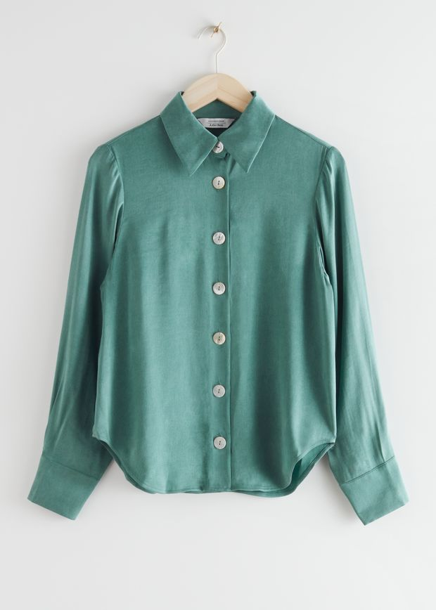 Button Up Lyocell Blend Blouse