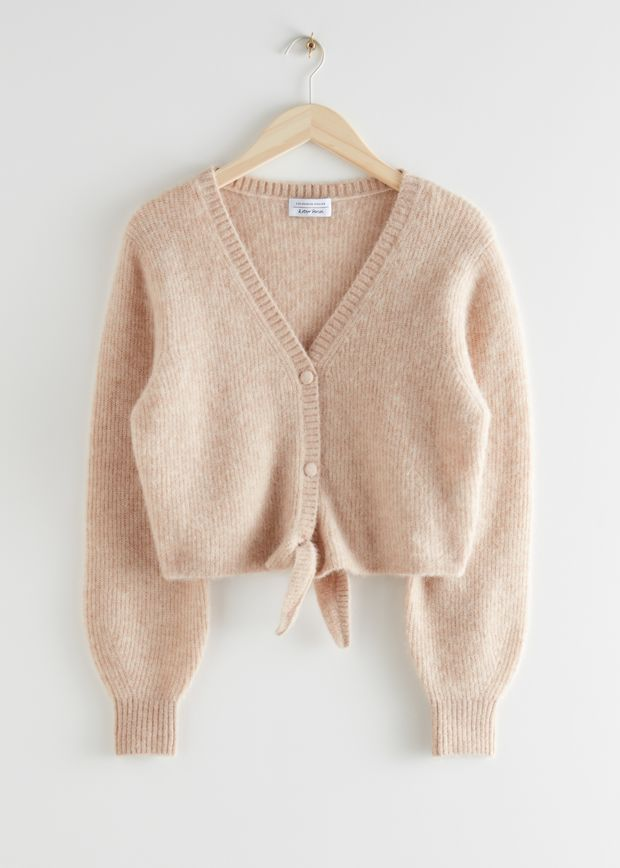 Cropped Boxy Front Tie Cardigan