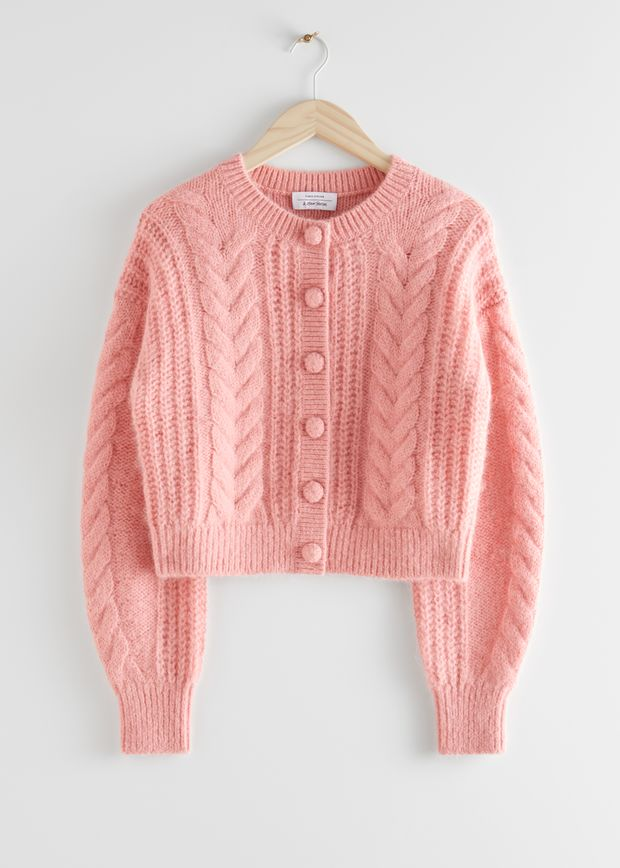 Cropped Button Up Knit Sweater
