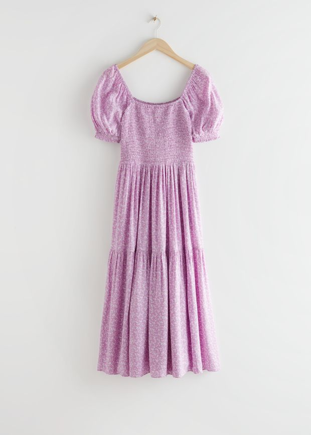 Puff Sleeve Smock Maxi Dress