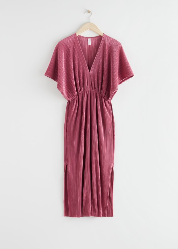 Relaxed Pleated Midi Dress