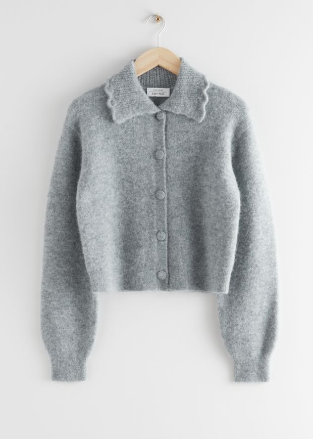 Statement Collar Knit Cardigan
