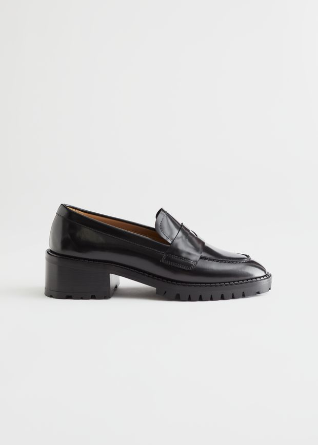 Heeled Leather Penny Loafers