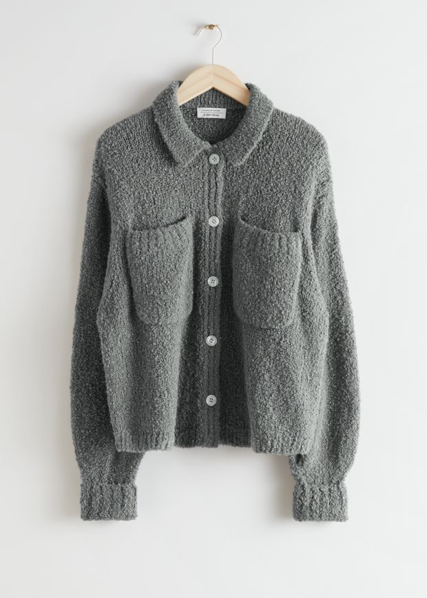 Collared Relaxed Bouclé Knit Cardigan