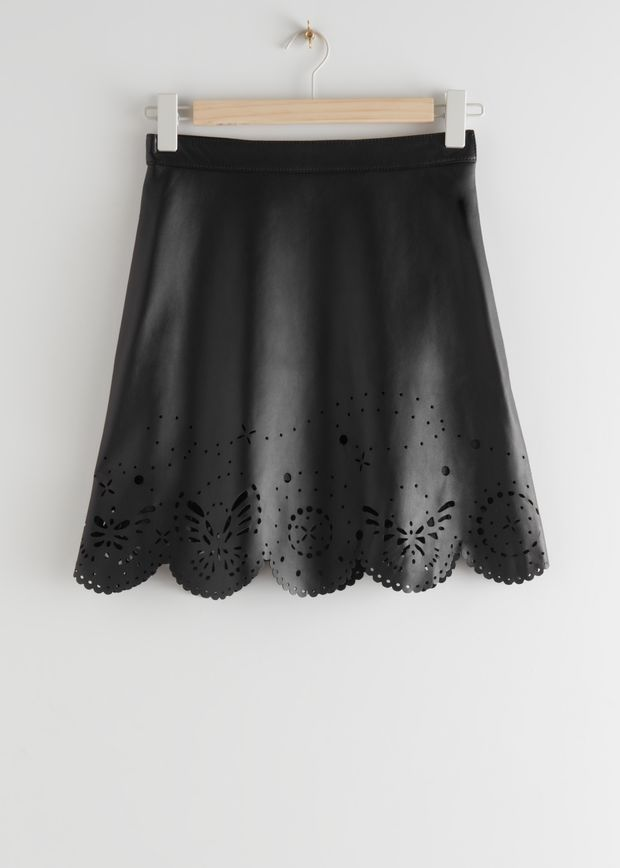 Laser Cut Leather Mini Skirt