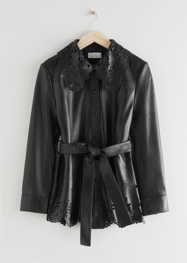 Belted Laser Cut Leather Jacket