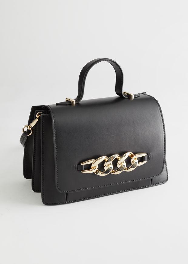 Buckle Embellished Leather Bag