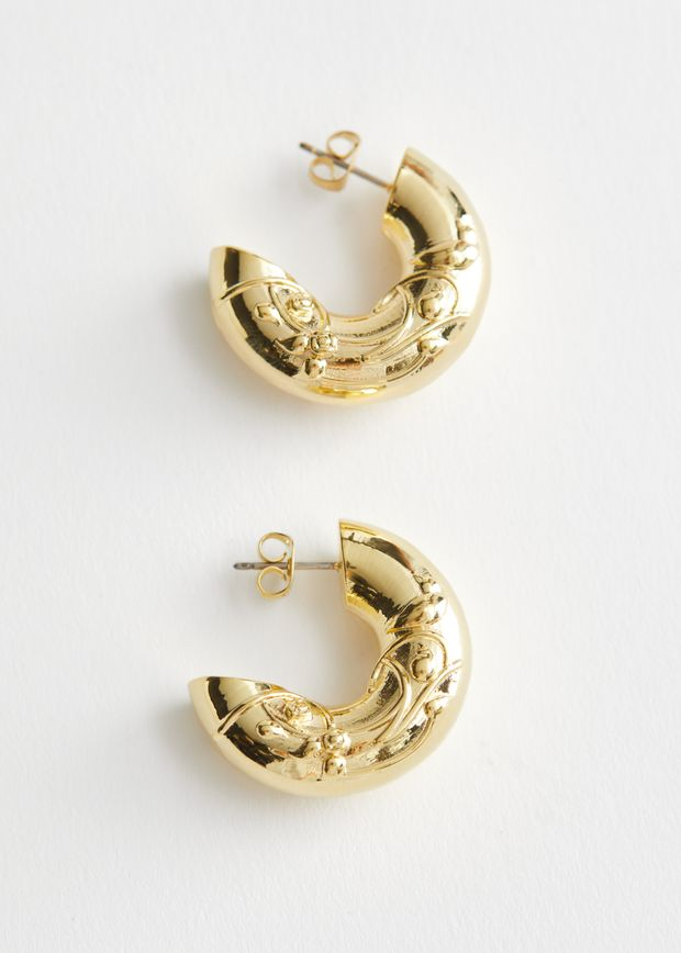 Embossed Chunky Hoop Earrings