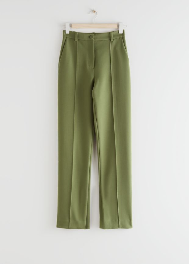 Straight High Waist Slit Trousers