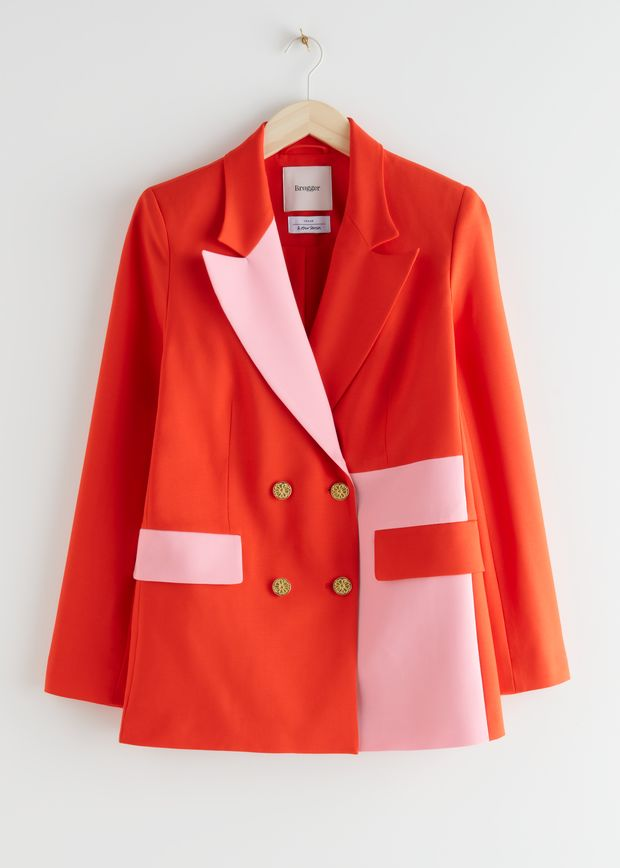 Straight Double Breasted Colour Block Blazer