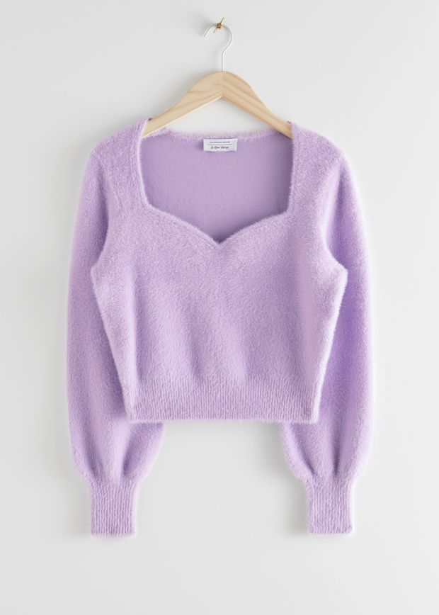Cropped Sweetheart Neck Sweater