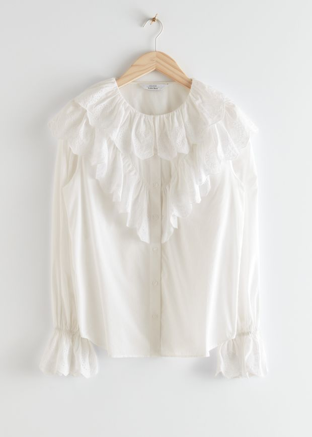 Relaxed Embroidered Ruffle Button Up Blouse