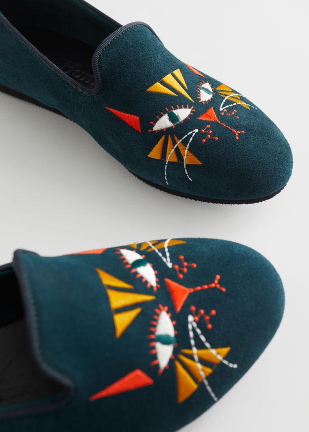 Cat Motif Loafer Slippers