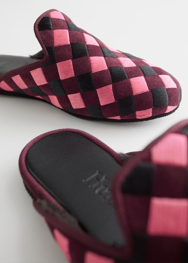 Pink Check Open Slippers