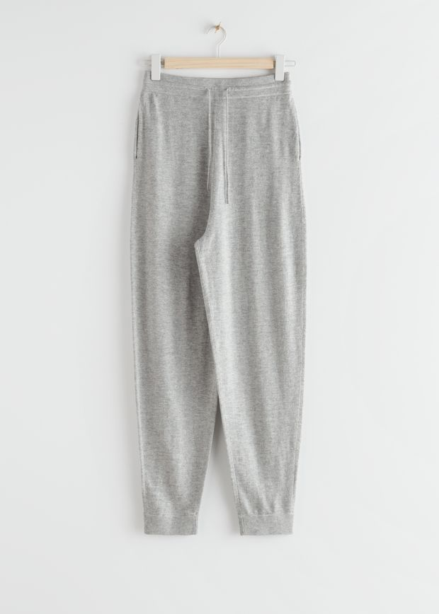 Oversized Wool Knit Drawstring Trousers
