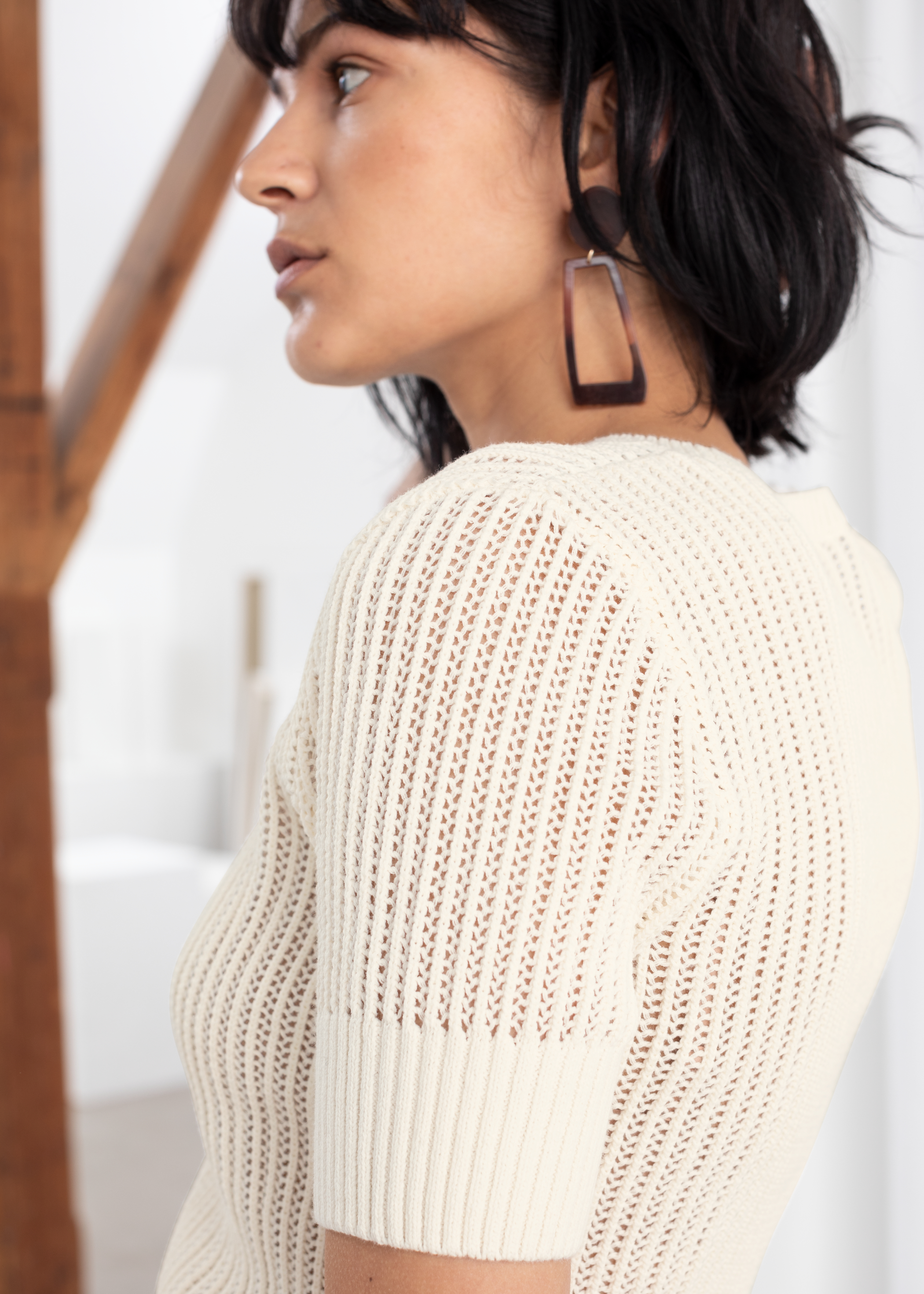 Open Crochet Knit Top
