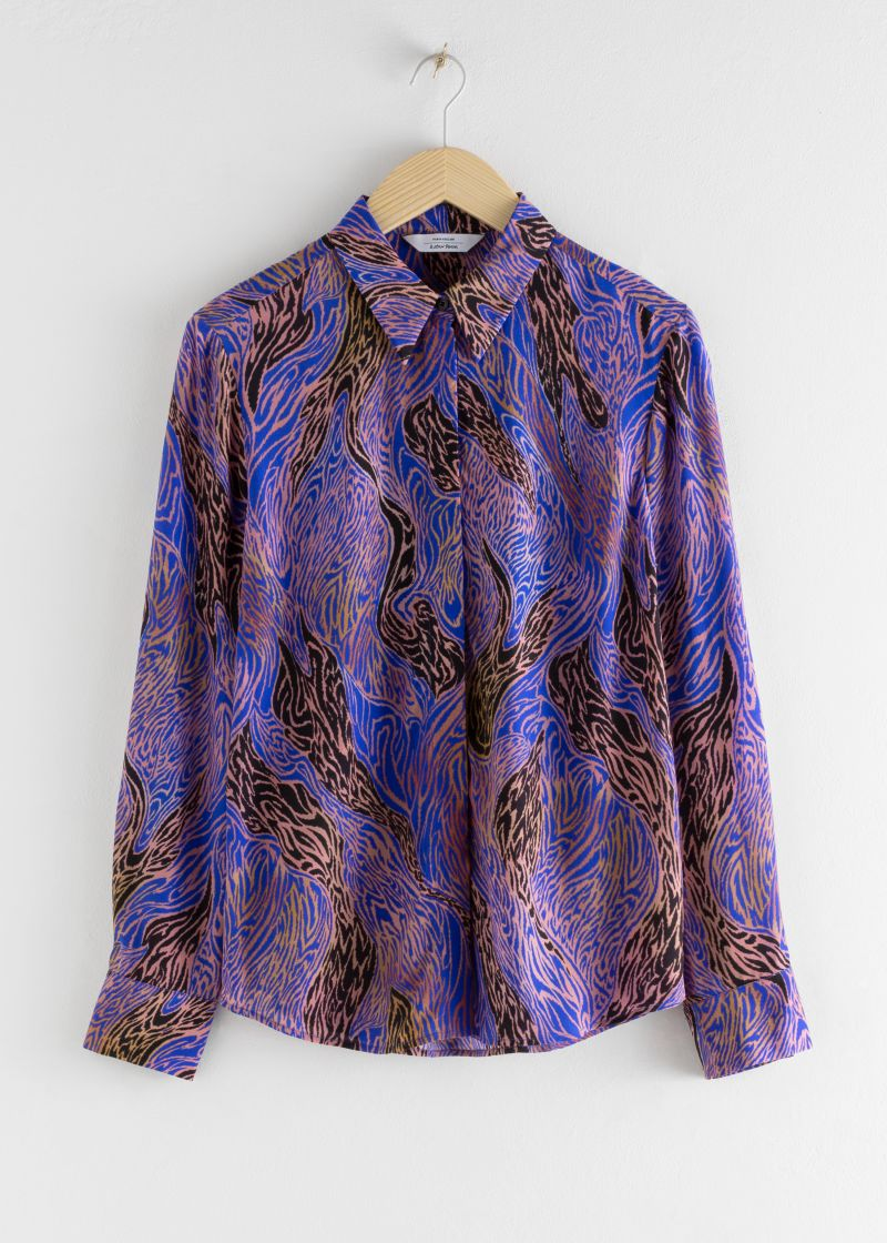 Graphic Print Button Up Shirt