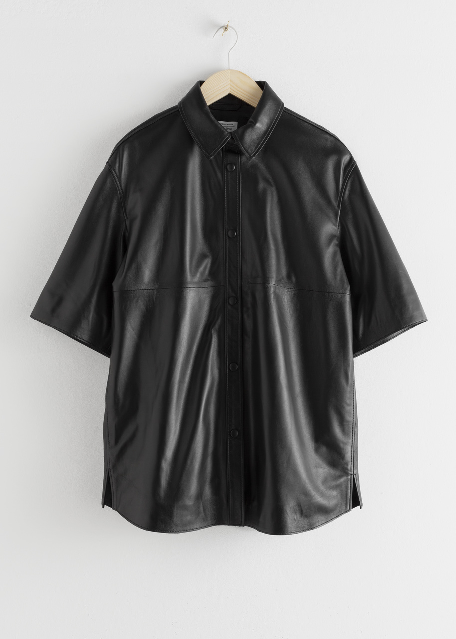 Oversized Leather Button Up Overshirt