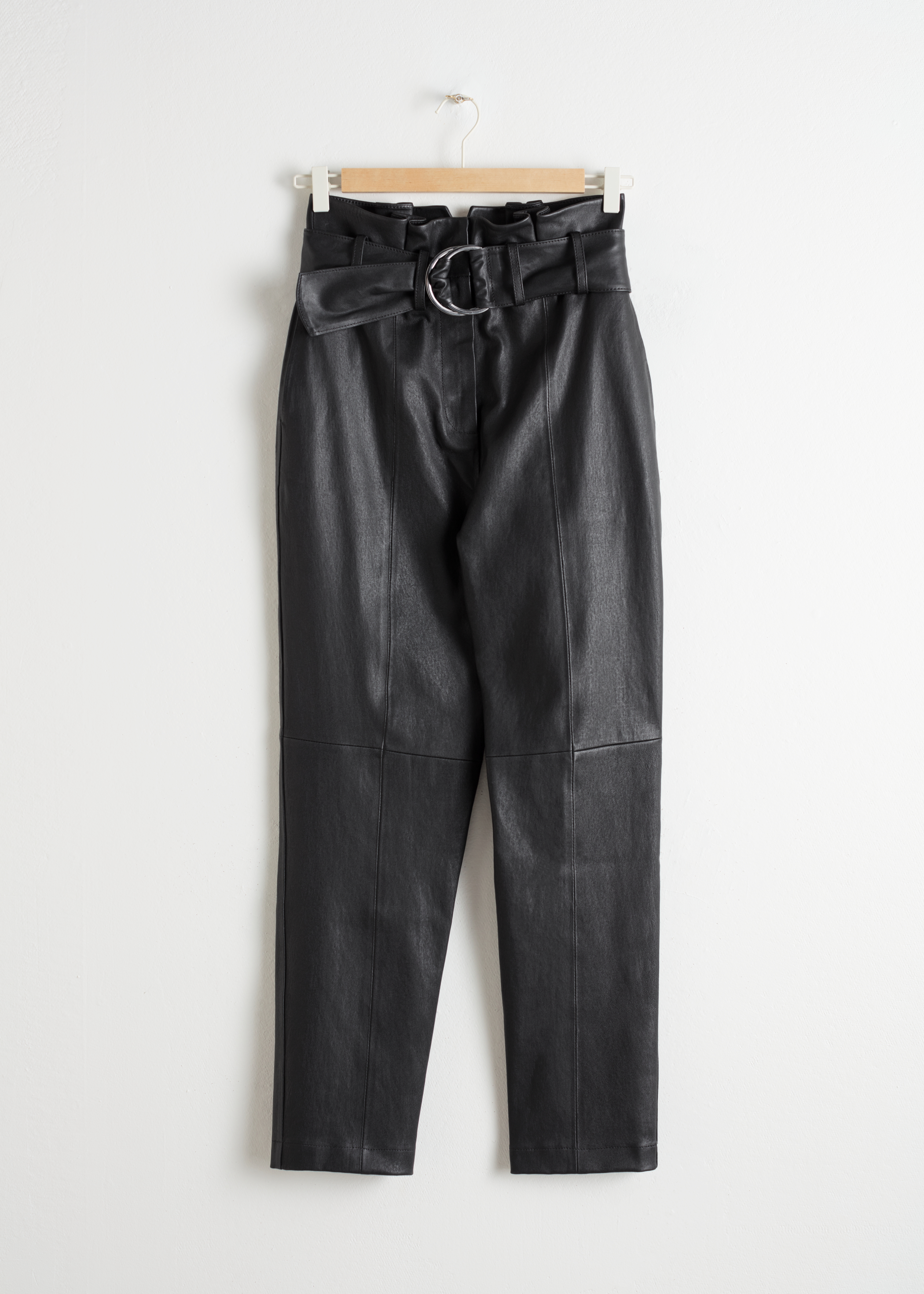 Paperbag Waist Leather Pants