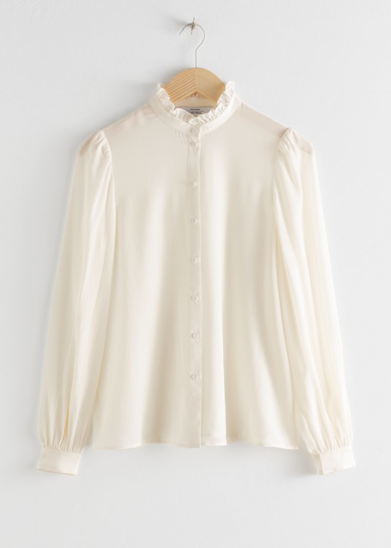 Ruffle Collar Silk Shirt