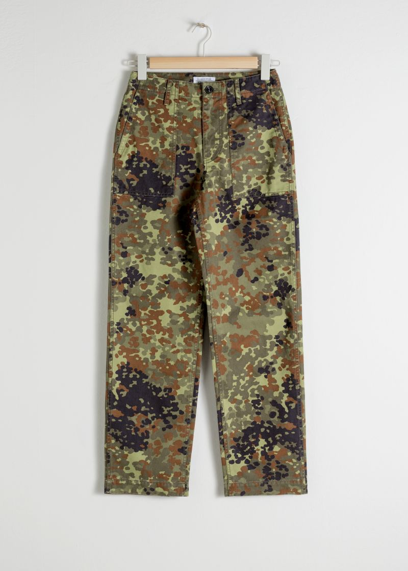 Cropped Camouflage Workwear Pants