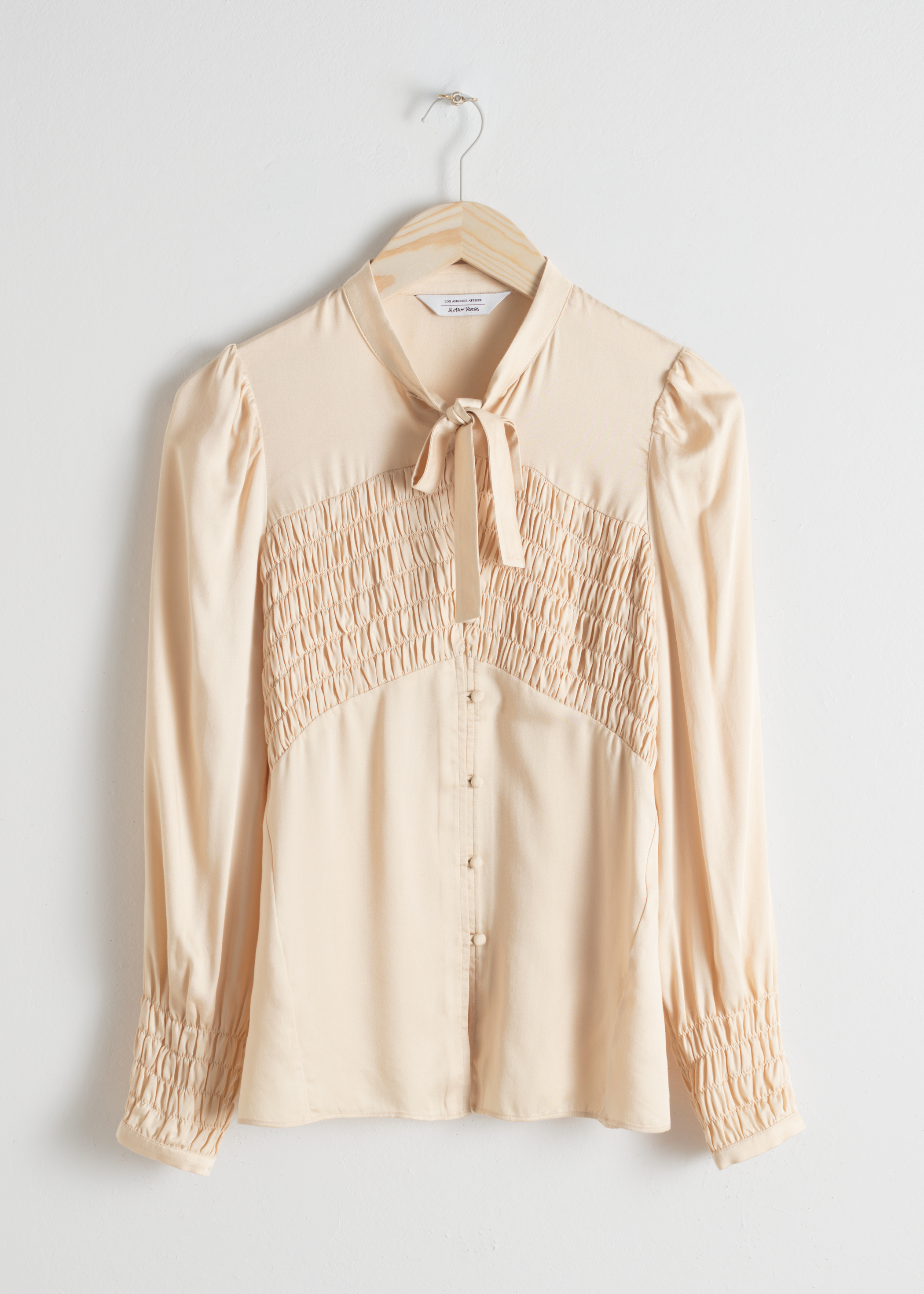 Smocked Pussy Bow Blouse