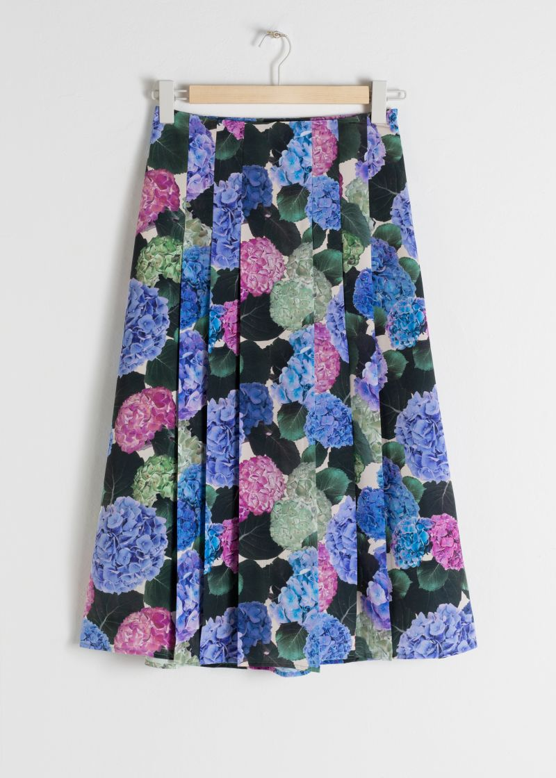 Floral Pleated A-Line Midi Skirt