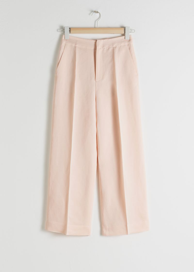 Cropped Linen Blend Trousers