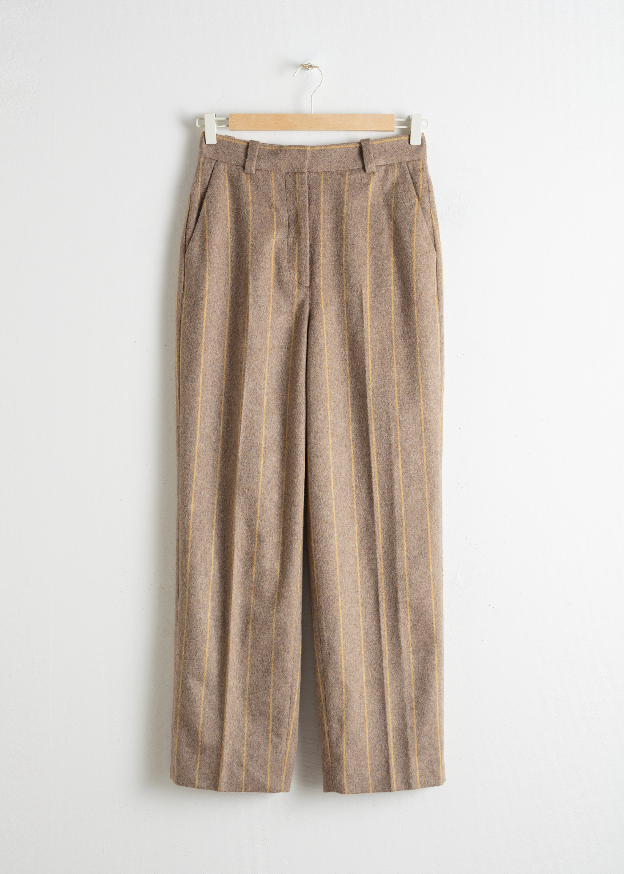 Wool Blend Striped Trousers
