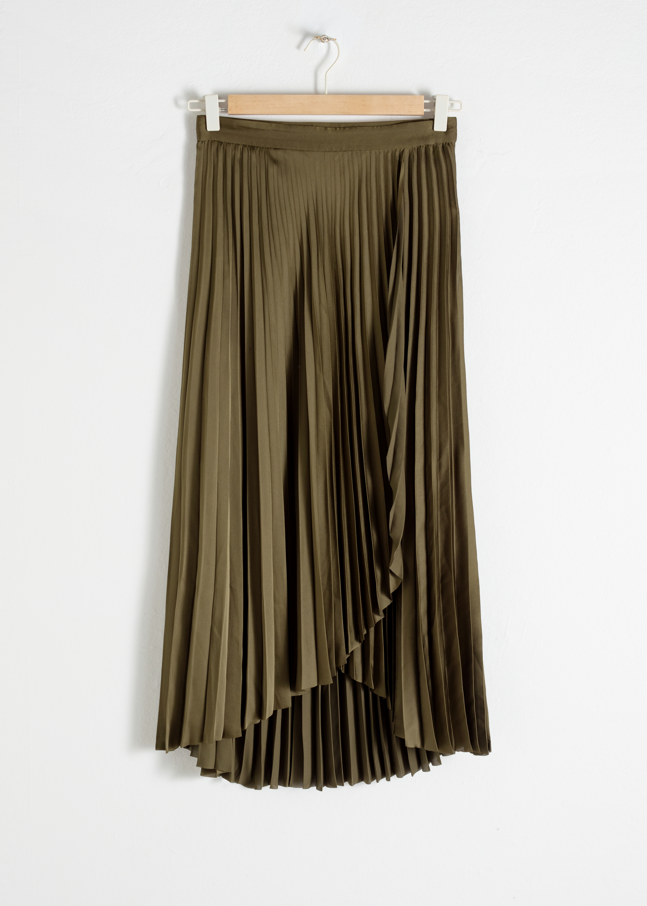 Pleated Wrap Midi Skirt
