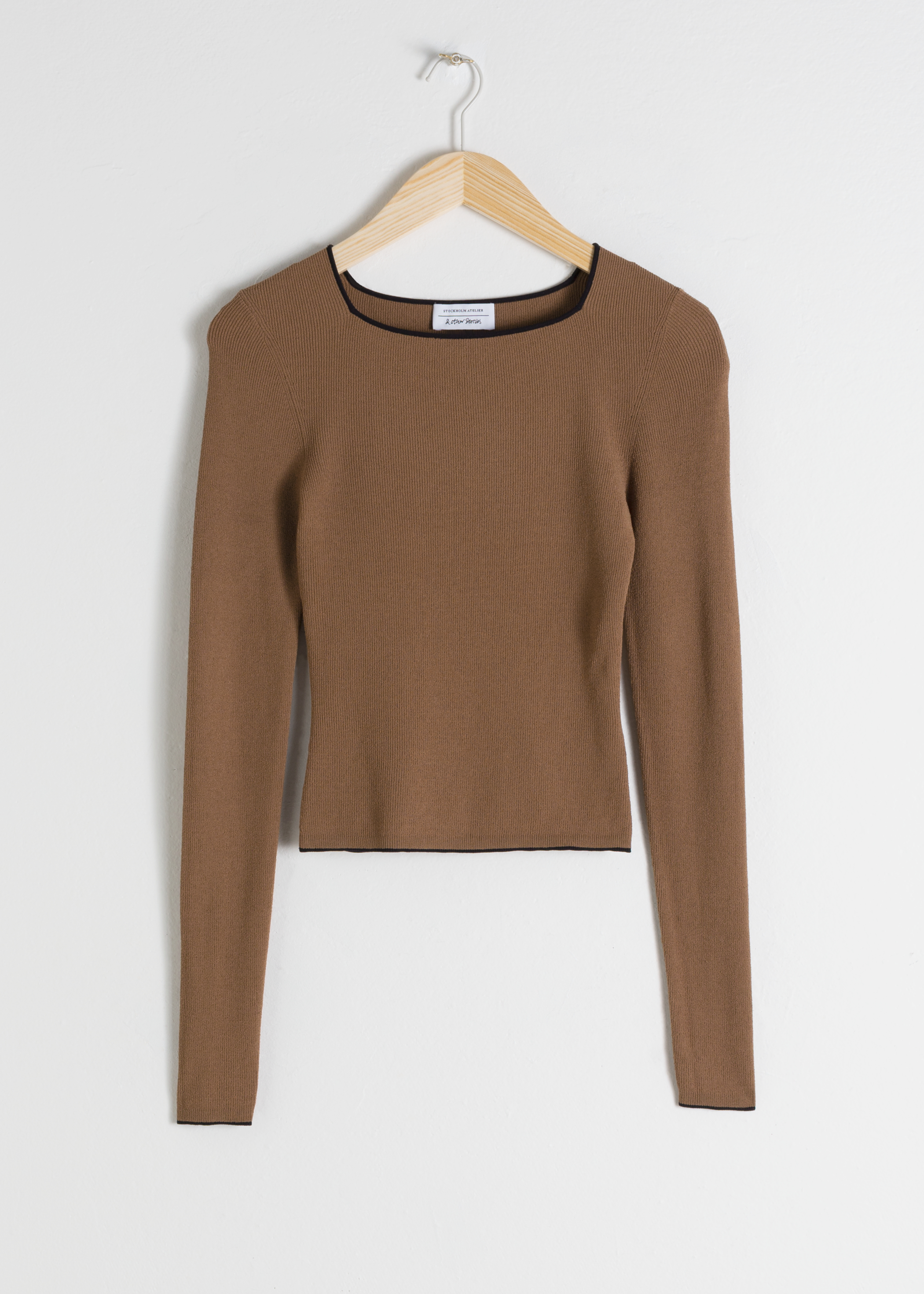 Fitted Square Neck Micro Knit Top