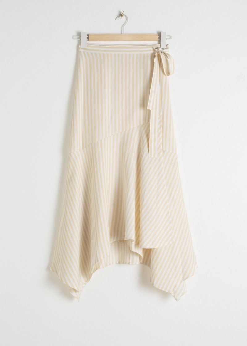 Striped Handkerchief Midi Skirt