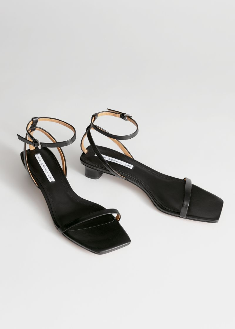 Leather Kitten Heel Sandals