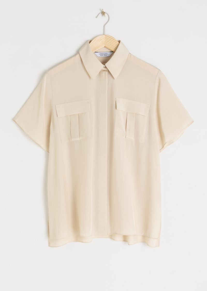 Modal Blend Sheer Button Up Shirt