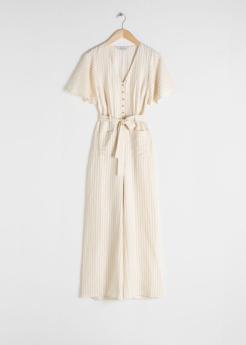 Striped Linen Blend Jumpsuit