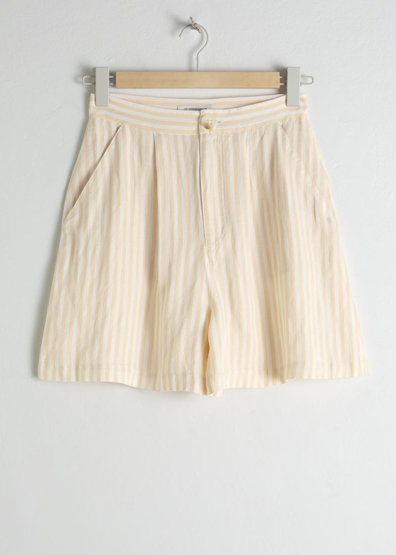 Striped Linen Blend Shorts
