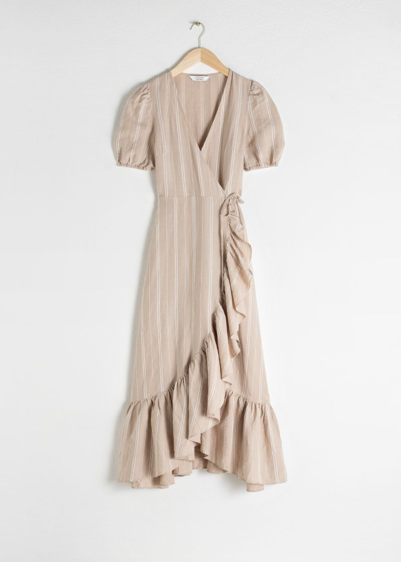 Ruffled Linen Wrap Midi Dress