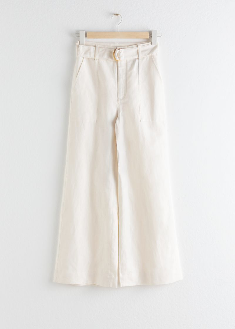 Cotton Linen Flared Trousers