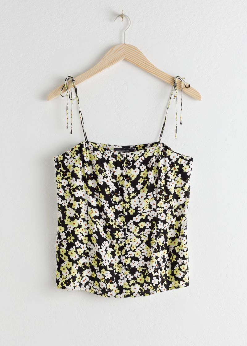 Floral Tie Shoulder Tank Top