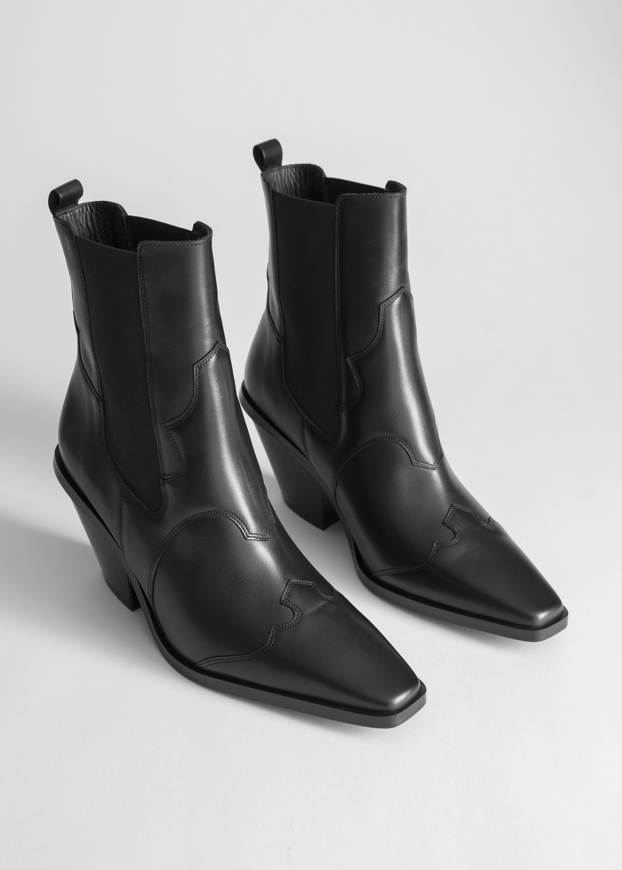 Square Toe Leather Cowboy Boots