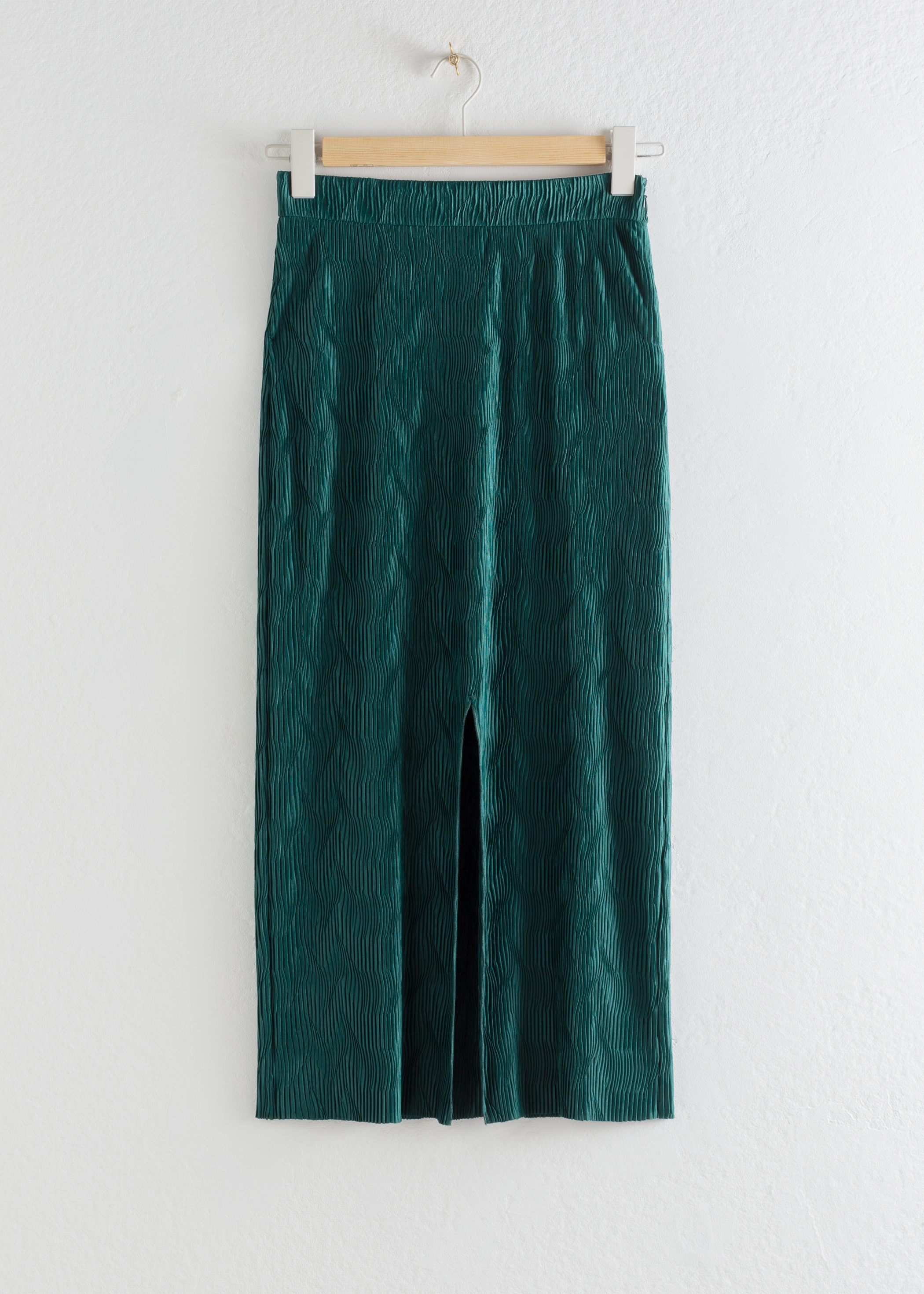 Metallic Crinkle Midi Skirt