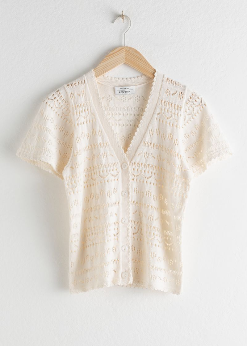 Cotton Crochet Short Sleeve Cardigan