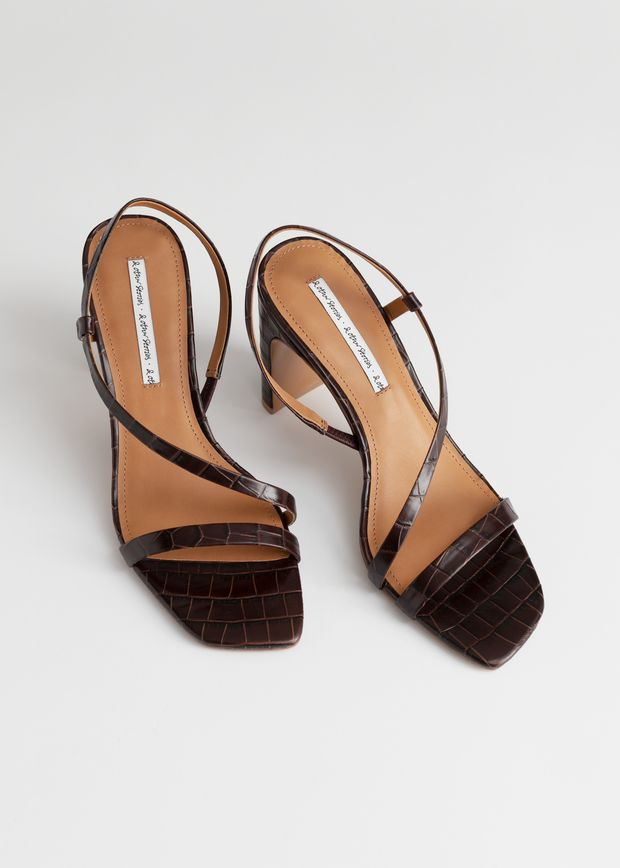 Strappy Croc Heeled Leather Sandals